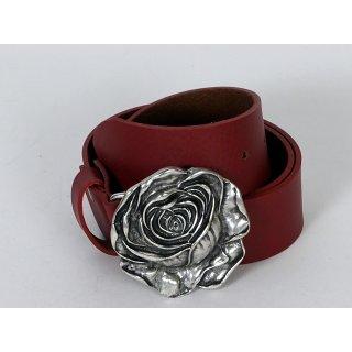 MGM Ledergürtel Damen mit Rose Rot 75